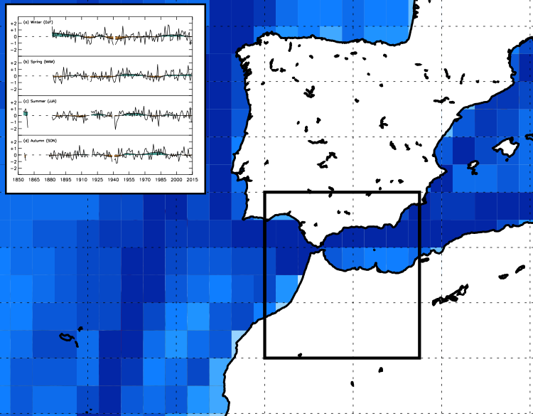 The figure shows the density of wind direction observations in the Strait of Gibraltar.